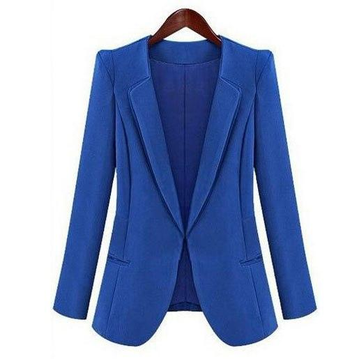 Fashion Women's jacket 2018 women blazer blue black female long sleeve pluswwetoro-wwetoro