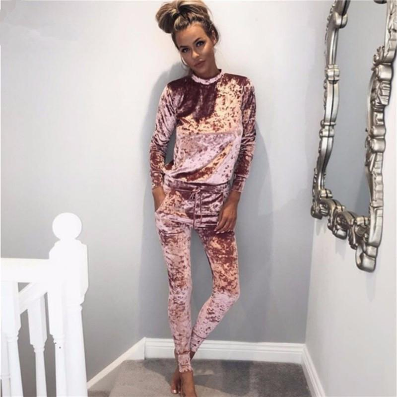 Velvet Women Sets Fashion Long Sleeve Bodycon Slim Sweat Suits Hoodies Tracksuitwwetoro-wwetoro