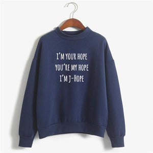 Vsenfo I'M J-Hope BTS Kpop Crewneck Sweatshirt Long Sleeve Fleece Warm Autumnwwetoro-wwetoro