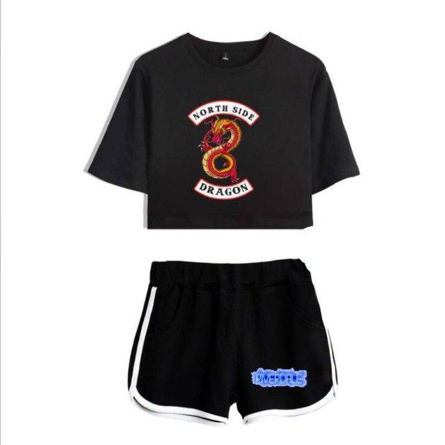 Summer Women's Sets Riverdale South Side Serpents Short Sleeve Crop Top +wwetoro-wwetoro