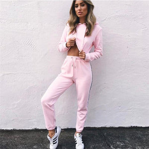 2pcs Hooded Casual Tracksuit Suits For Women Set Hoodies Sweatshirt+Sweatpants 2 Pieceswwetoro-wwetoro