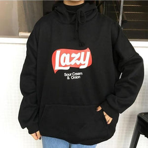 Women Cute Lazy Letter Yellow Hoodie Sweatshirt Fashion Harajuku Loose Fleece Sweatshirtwwetoro-wwetoro