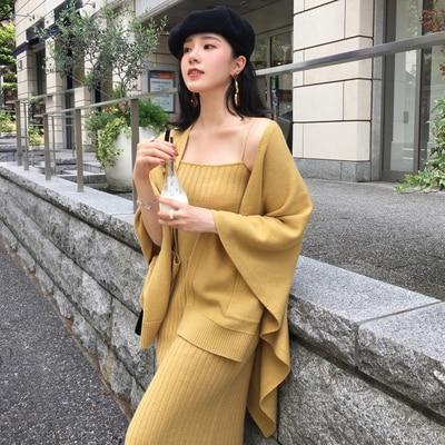 Autumn Winter Women Knit Cardigan Coat Knitwear Jackets+two piece Sleeveless knit Dresswwetoro-wwetoro
