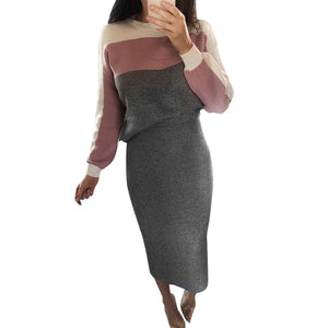 Elegant Hoodies Sweatshirts + Long Skirt Women Two Pieces Sets Fashion Winterwwetoro-wwetoro