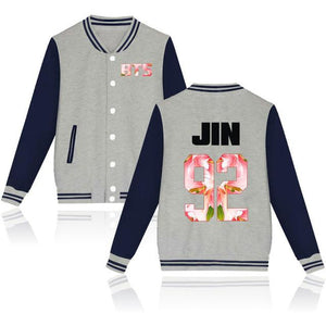 ARMY BTS Kpop Bangtan Boys Baseball Uniform Zip-up Button Jacket Stripe Hoodiewwetoro-wwetoro