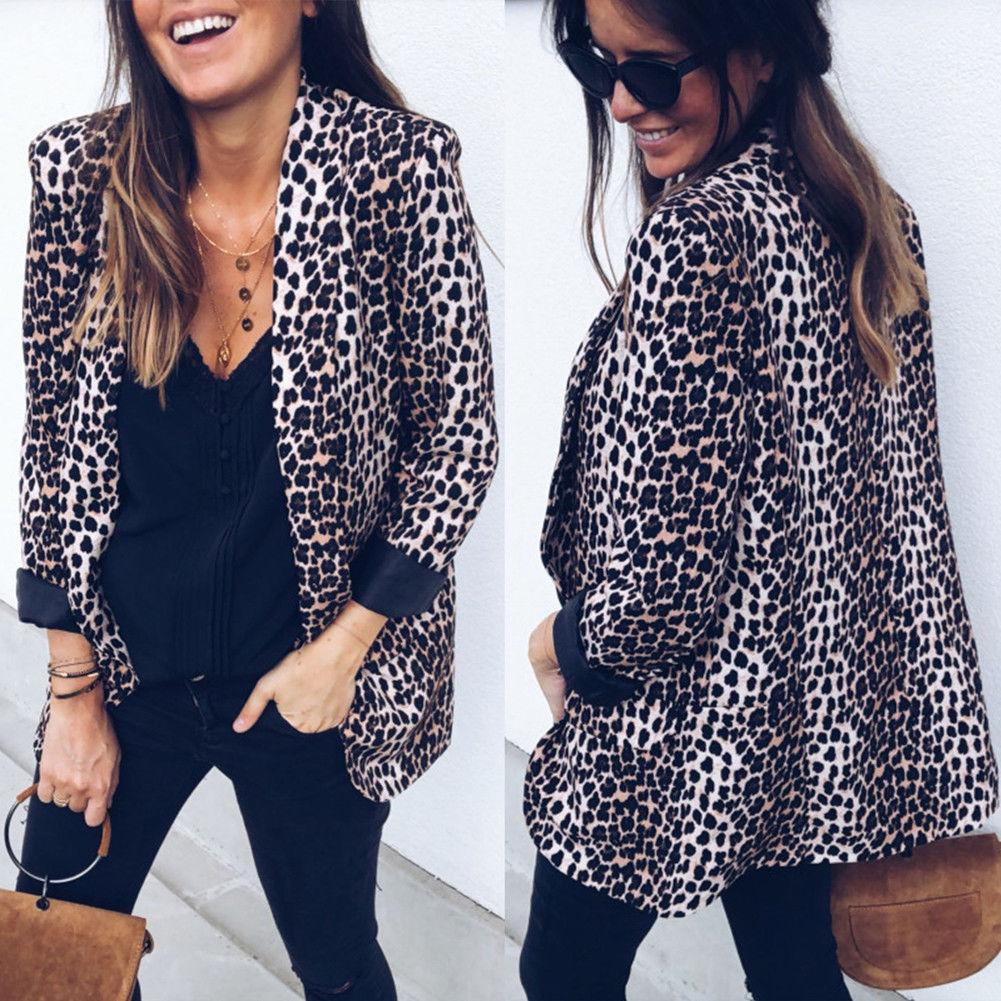 Women Vintage Leopard Blazer Highstreet Office Lady Shawl Collar Elegant Female Longwwetoro-wwetoro