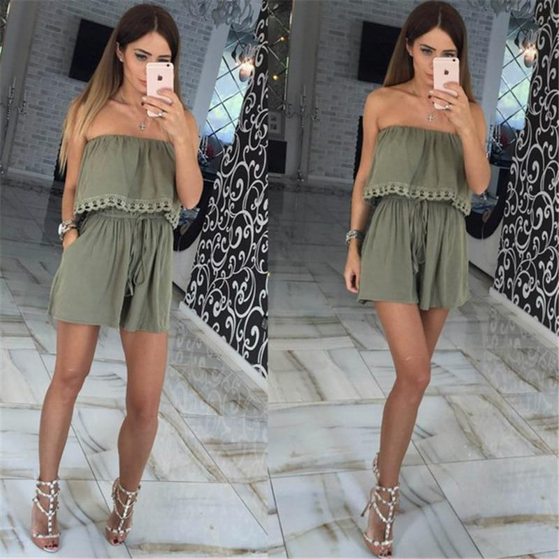 2019 Spring women Jumpsuits leisure sexy strapless chest wrapped piece shorts Fashionwwetoro-wwetoro