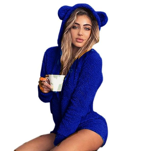 Kawaii Sweet Fleece Hoody Cat Ear Body New Jumpsuits Women Solid Ladywwetoro-wwetoro