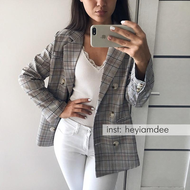 Casual Plaid Women Blazer Jacket Notched Collar Double Breasted Female Suit Coatwwetoro-wwetoro