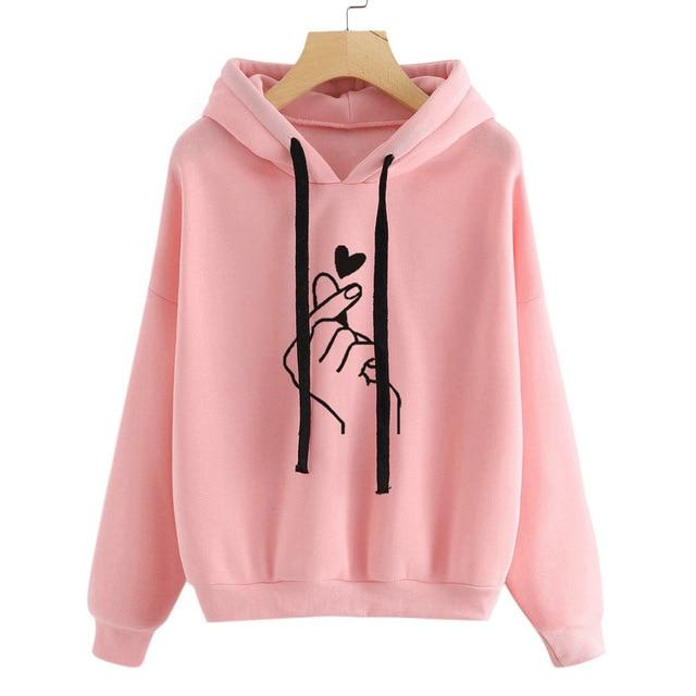 Harajuku Pink Women Hoodies Kawaii Love Heart Printed Hooded Sweatshirt Kpop Topswwetoro-wwetoro