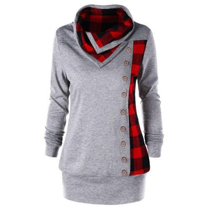 Oversize 5XL Hoodies Sweatshirt Women Harajuku Gothic Plaid Button Hoodie Clothes 2018wwetoro-wwetoro