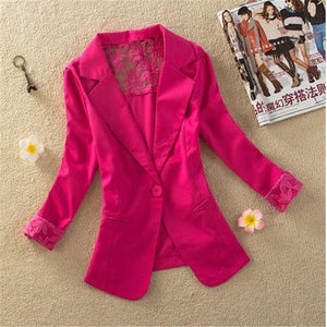 2018 New Full Sleeve Casual Slim Blazer Elegant Lace Hollow Out Womenwwetoro-wwetoro