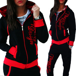 Women Knitting Sport Suit 2018 Autumn Casual Zipper Letter Turn-down Collarwwetoro-wwetoro