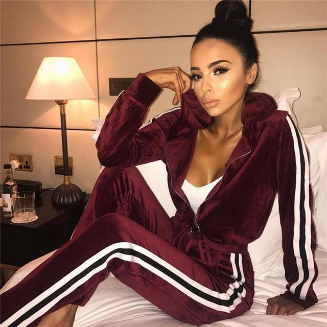 Women Two Piece Set Tracksuits Top and Pants Velvet Pleuche Zipper Officewwetoro-wwetoro