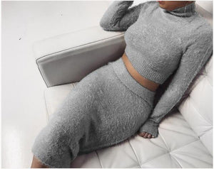Set 2PCS Autumn Sweater Suit Turtleneck Long Sleeve Fleece Crop Top Pencilwwetoro-wwetoro