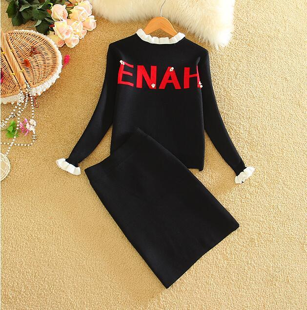 2018 New Autumn Winter Women Sets High Quality Knitted Sweater And Skirtwwetoro-wwetoro
