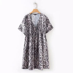 Jenny&Dave new dress women vestido high street serpentine print v-neck party dresswwetoro-wwetoro
