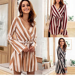Sexy Striped Jumpsuit Romper Women V Neck Long Sleeve Overalls Beach Casualwwetoro-wwetoro
