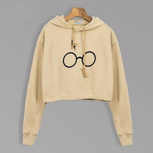 Hogwarts Glasses & Lightning Women Short Hoodies Autumn 2019 Casual Slim Fitwwetoro-wwetoro