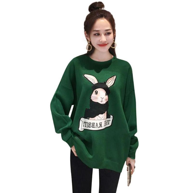 Cartoon Rabbit Women Long Sleeve Sweatshirt Autumn O-Neck Daily Pullover Loose Casualwwetoro-wwetoro