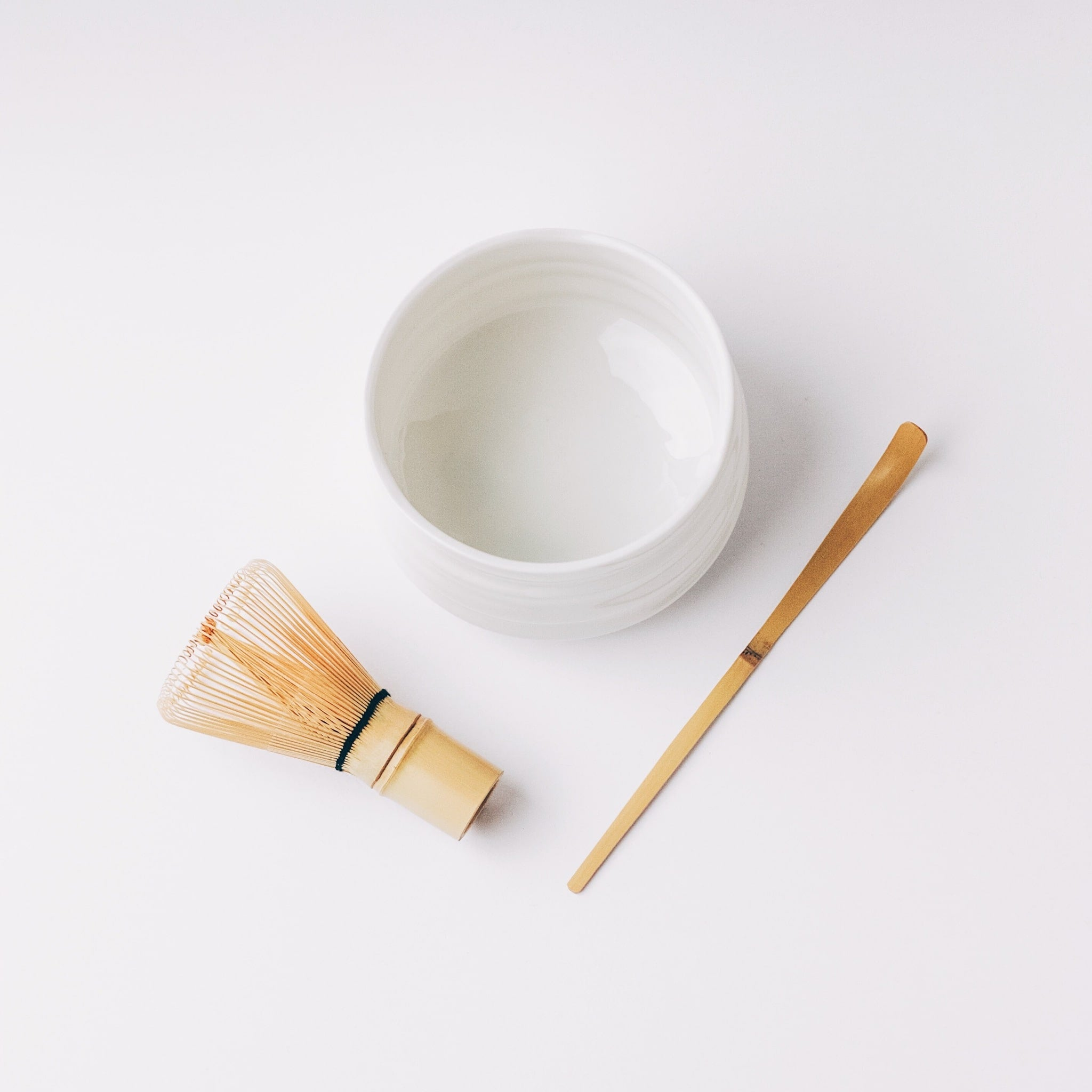 Top view of Chawan (matcha bowl), Chasen (matcha whisk) and Chashaku (matcha scoop) included in The Kit
