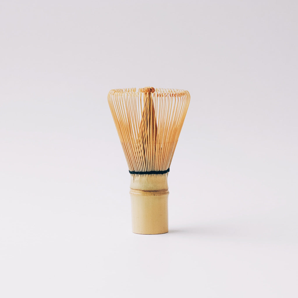 Front view of Traditional Chasen (matcha whisk) with 100 tines/prongs