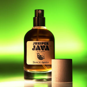Juniper Java EDP 50ml by Beach Geeza - An exotic woody citrus green jungle barbarshop fragrance for warm spring or  hot summer weather.