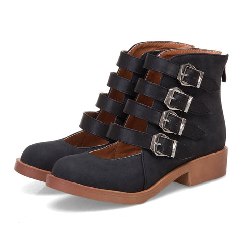 Women Hollow Out Buckle Strap Back Zipper High-top Causal Boots