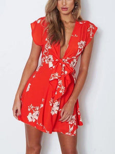 Women V Neck Sweet Dresses
