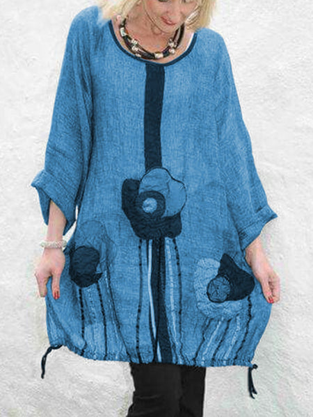 Women's Floral Printed Loose Casual Linen Dresses