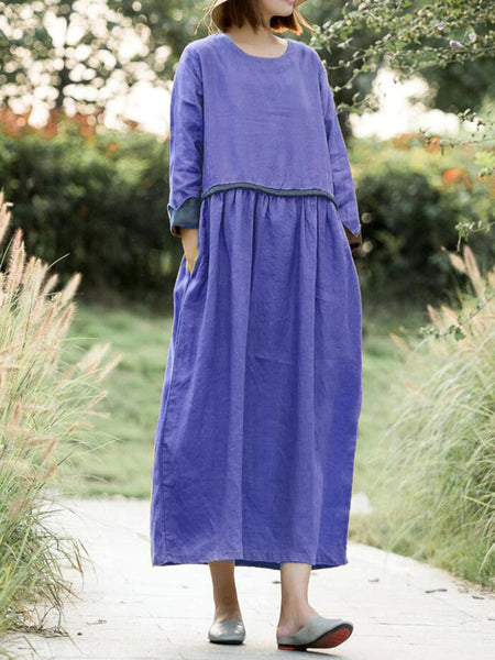 Long Sleeve Crew Neck Cotton-Blend Casual Dresses