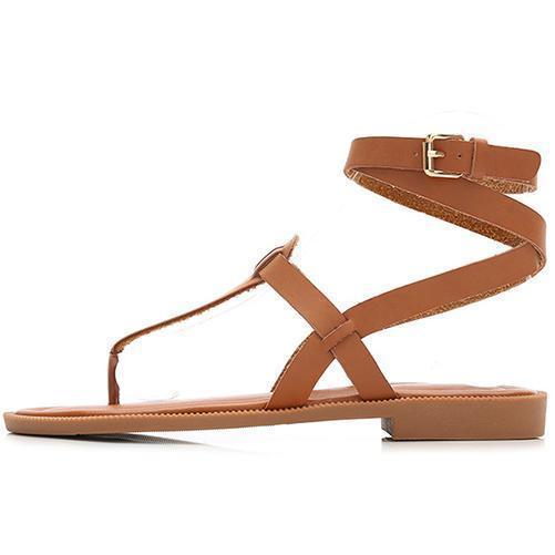 Women's Sandals 2019 Summer Flat Roman Strap Buckle