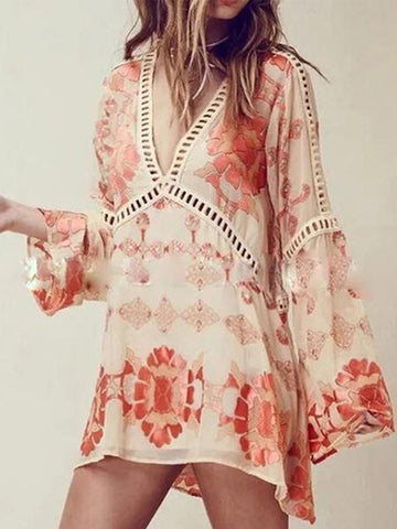 Orange V Neck Sweet Chiffon Floral-Print Dresses