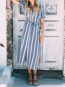 Striped Printed Casual V Neck Dresses