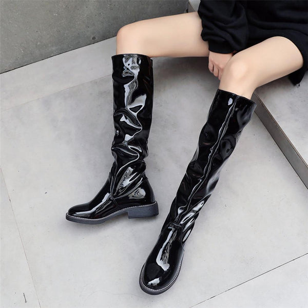 Women Round Toe Slouchy Knee High Boots Black Winter Half Boots Slip On Casual