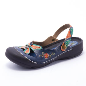 MATON Retro Genuine Leather Handmade PAINTED VELCRO Original Comfortable SANDAL