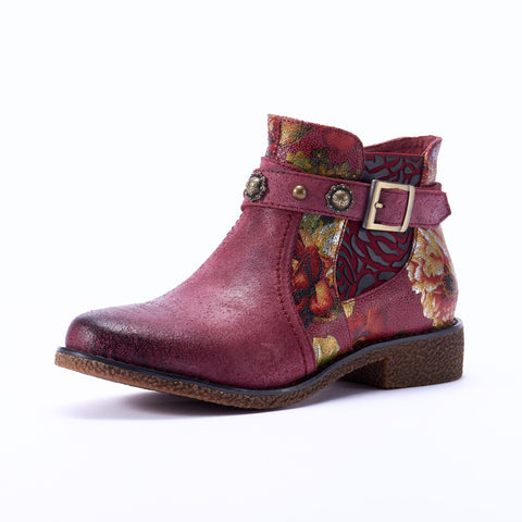 Retro Genuine Leather Zipper Handmade Comfortable Ankle Boots