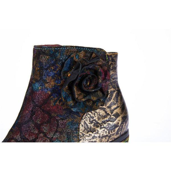 LAURA VITA Vintage Jacquard Genuine Leather Ankle Boots