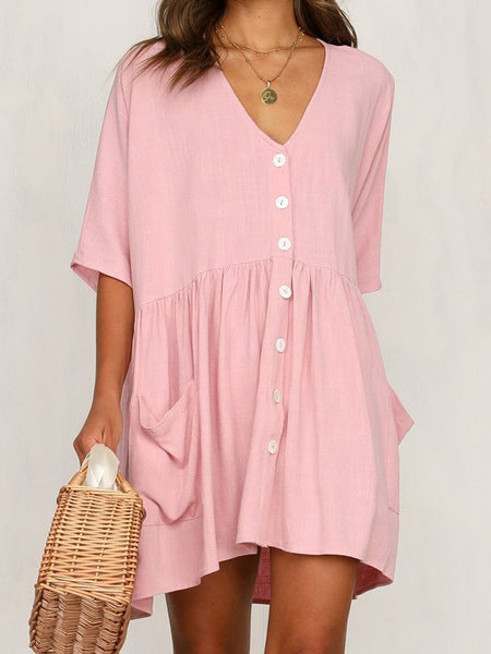 Casual Half Sleeve Pockets Button Mini Dress