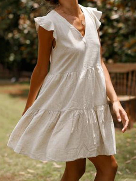 V Neck Women Dresses Flounce Daytime Cotton Solid Dresses