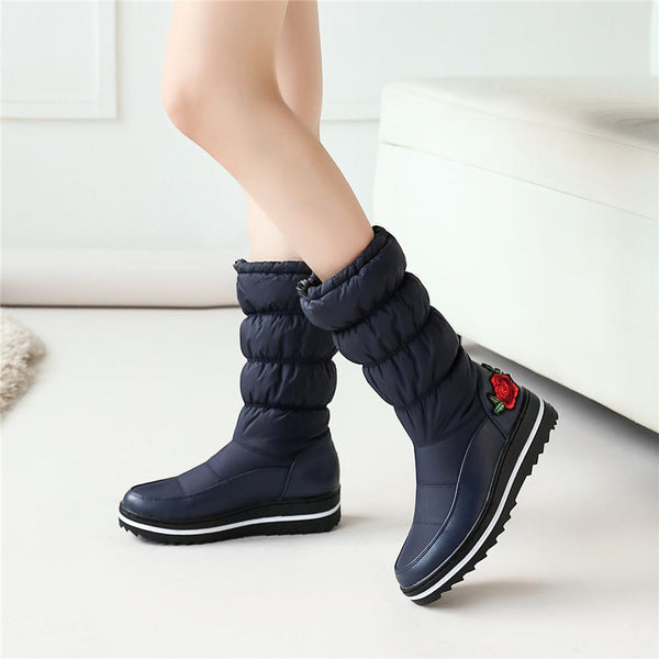 Women Embroidered Rose Platform Water-resistant Mid Calf Boots