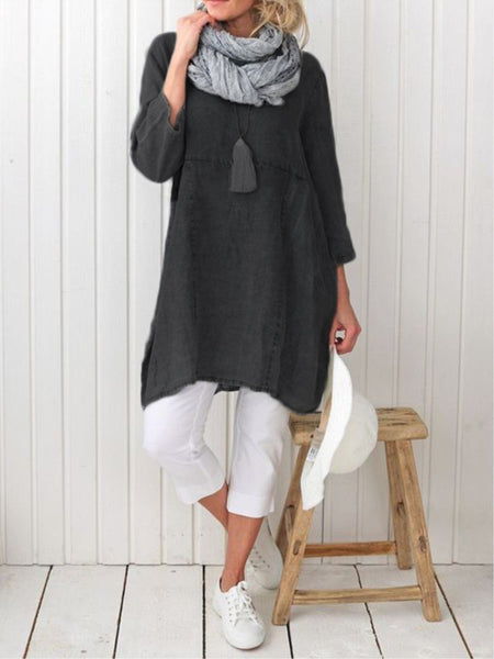 Casual Plain Long Sleeve Linen Plus Size Dress