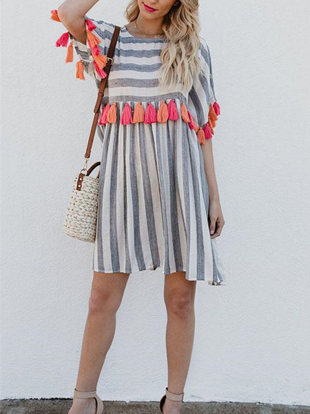 Women Shift Daytime Short Sleeve Cotton Striped Dress
