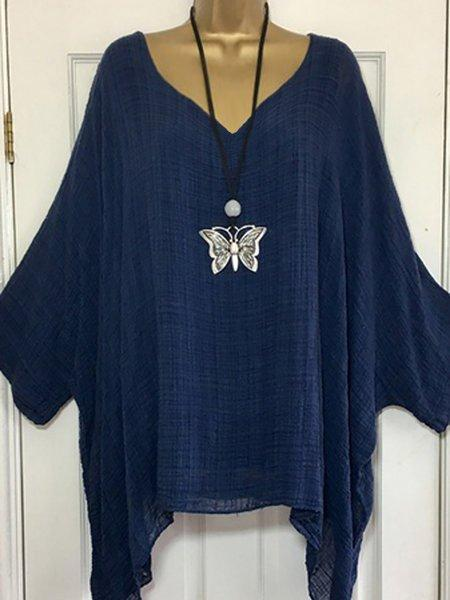 Plus Size Solid Casual Batwing V Neck Blouse