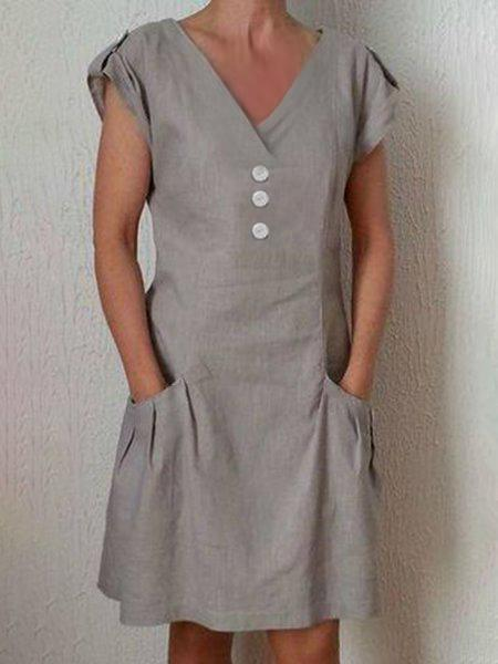 Linen V Neck Short Sleeve Dresses