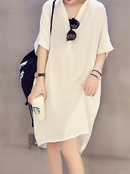 Shift Women Daytime Half Sleeve Cotton-blend Paneled Solid Casual Dress