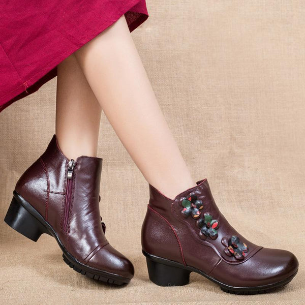Ladies Winter High-Heeled Casual Warm Chuncky Boots