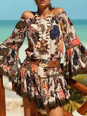 Off Shoulder Bell Sleeves Casual Printing Dress
