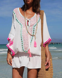 Boho Style Printed V-Neck Holiday Casual Dresses
