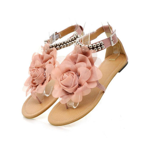 Women Bohemia Beaded Summer Flower Flat Flip Flops Sandals